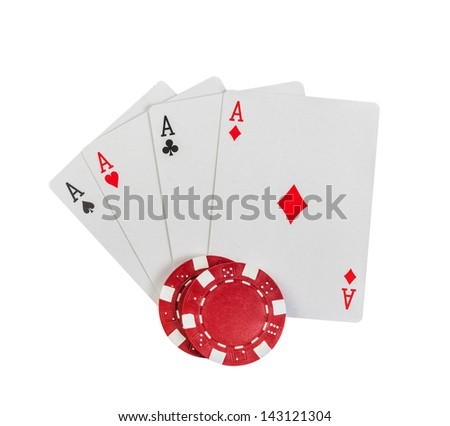 Chip and cards isolated on white background. - stock photo