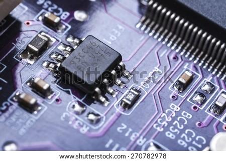 Chip, circuit, board. - stock photo