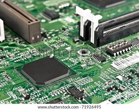 Chip. processor, transistor, on pcb - stock photo