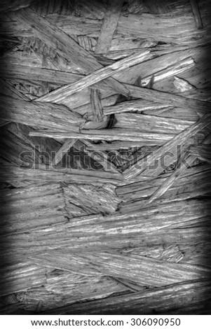 Chipboard Front Side, Bleached and Stained Dark Gray, Rough, Extra Coarse, Vignette Grunge Texture Detail. - stock photo