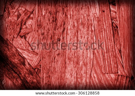 Chipboard Front Side, Bleached and Stained Red, Rough, Extra Coarse, Vignette Grunge Texture Detail. - stock photo