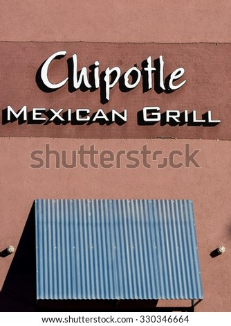 Chipotle Mexican Grill Store Sign - February 2, 2015, Las Vegas, NV - Editorial Image