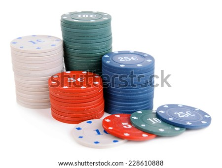 Chips for poker isolated on white - stock photo