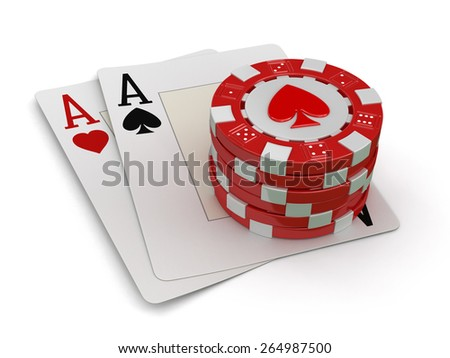 chips of casino and aces (clipping path included) - stock photo