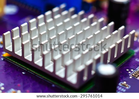 chipset heatsink on motherboard, close up