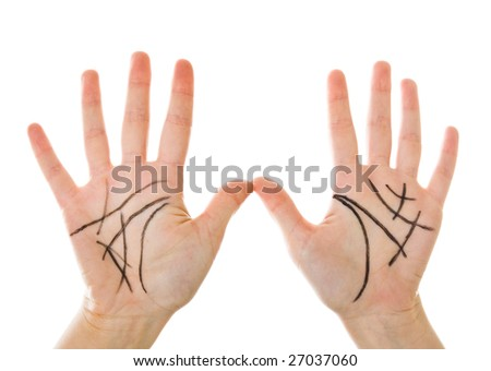 Chiromancy. Black contours on palm. Isolated on white background - stock photo