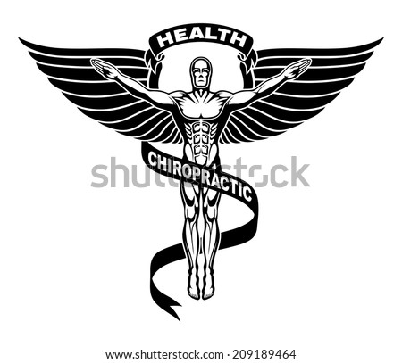 Chiropractic Symbol or Icon is an illustration of a chiropractors symbol or icon in black and white graphic style. - stock photo