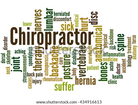 Chiropractor, word cloud concept on white background.