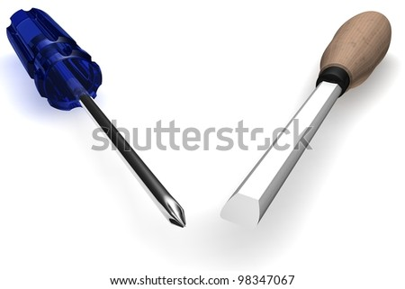 Chisel and screw-driver on a white background