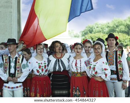 CHISINAU, MOLDOVA- JULY 27, 2014: Independence Day, national holiday. Participants of the concert. National Assembly Square