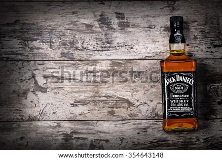 "CHISINAU, MOLDOVA- November 14. 2015.Photo of bottle of ""Jack Daniel's"" Tennessee whiskey.Jack Daniel's is a brand of sour mash  - stock photo"