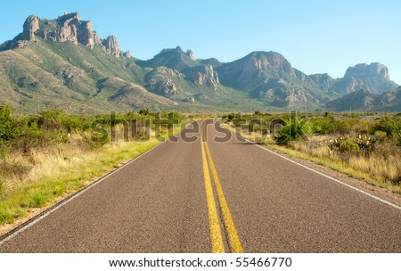 Chisos Mountains and basin entrance road - stock photo