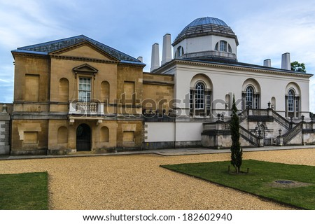 Chiswick House - Palladian villa (1729) in Burlington Lane, Chiswick, in London Borough of Hounslow in England. Arguably finest remaining example of Neo-Palladian architecture in London.  - stock photo