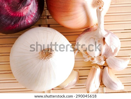 Chive and onion of different colors - stock photo
