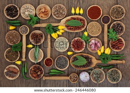 Chlli spice and herb ingredients in wooden bowls, spoons and loose over old oak background. - stock photo