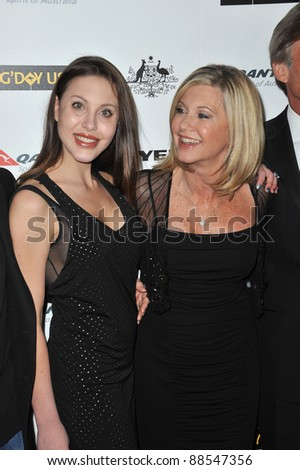 Chloe Lattanzi with her mother Olivia Newton-John at the 2011 G'Day USA Black Tie Gala at the Hollywood Palladium. January 22, 2011  Los Angeles, CA Picture: Paul Smith / Featureflash - stock photo