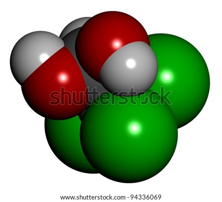 Chloral hydrate drug molecule, chemical structure.