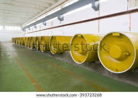 Chlorine storage area - stock photo