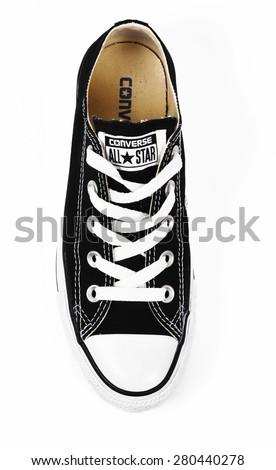 CHLUMCANY, CZECH REPUBLIC, MARCH 27, 2015: Black low Converse shoes - stock photo