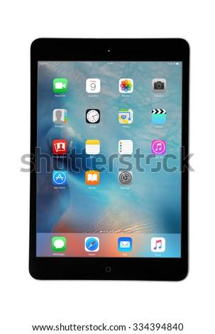 CHLUMCANY, CZECH REPUBLIC, OCTOBER 9, 2015: Apple iPad Mini isolated on white - stock photo