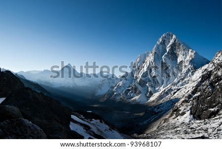 Cho La pass during sunrise in Himalayas. at height 5200 m - stock photo