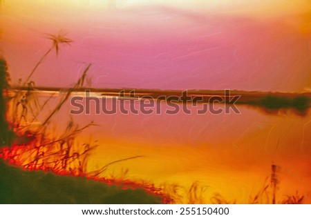 Chobe River sunset, digital oil painting - stock photo