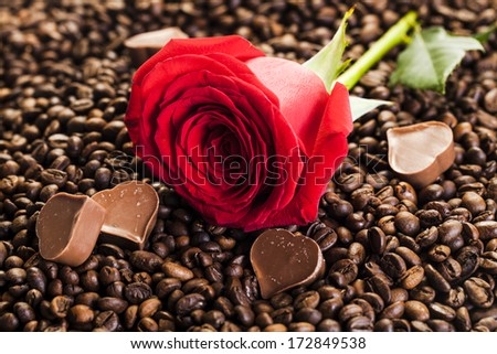 chocholate and red rose  - stock photo