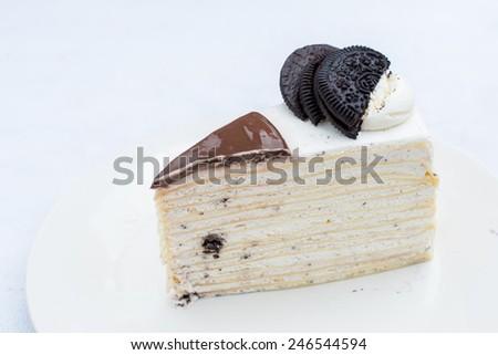 chocholate oreo crape cake - stock photo