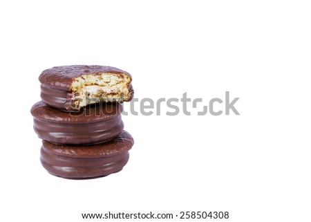 choco pie chocolate coated snacks isolated on white - stock photo
