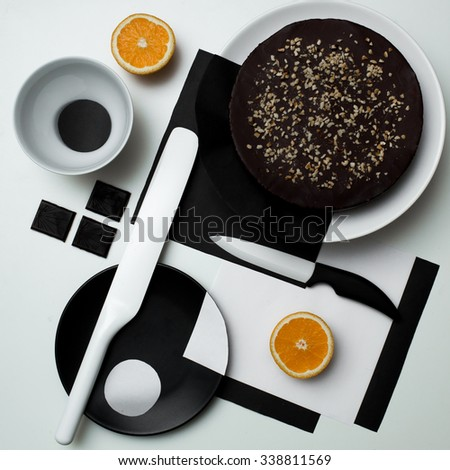 Chocolade cake in the style of Suprematism the art of table setting & Chocolade Cake Style Suprematism Art Table Stock Photo (Edit Now ...