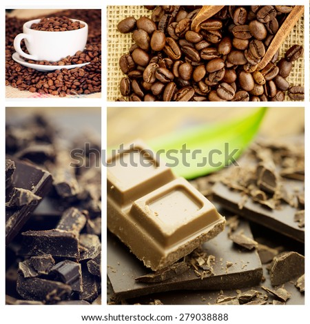 Chocolate against wooden shovel with coffee beans - stock photo