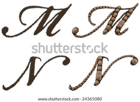 Chocolate alphabet - M N