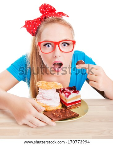Chocolate and cake sweets temptation,funny  woman eating dessert - stock photo