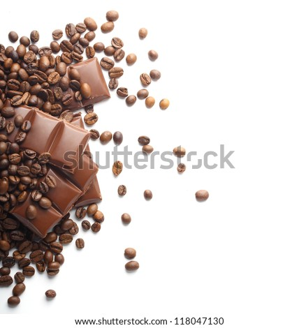 chocolate and coffee beans on white - stock photo