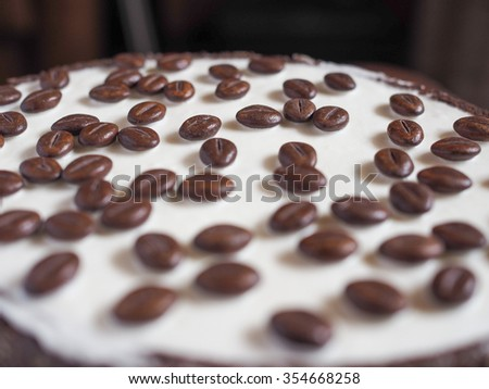 Chocolate and coffee ice cake birthday party pie