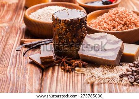 Chocolate and coffee  spa - sea salt, handmade soap and bath pearls - stock photo