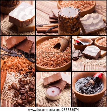 Chocolate and coffee spa - sea salt, handmade soap and bath pearls. Collage of seven photos - stock photo