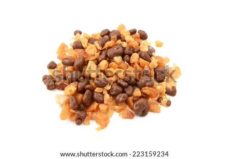 Chocolate and honeycomb pieces for dessert toppings, isolated on a white background - stock photo