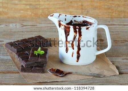 Chocolate and melted chocolate - stock photo