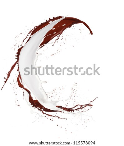 "Chocolate and milk splash letter ""C"" isolated on white background - stock photo"