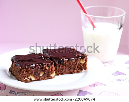 Chocolate and nut slices with chocolate icing - stock photo
