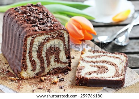 Chocolate and vanilla cake. Selective focus. - stock photo