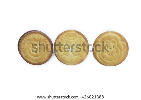 Chocolate and vanilla crispy biscuit cookie on white background - stock photo