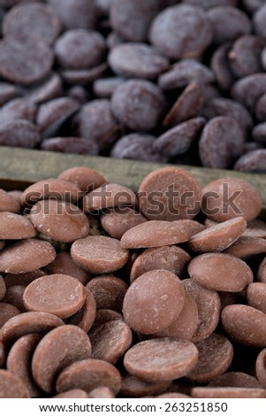 chocolate assortment in a wooden box - stock photo