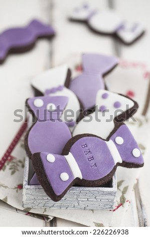 Chocolate baby, candy shape cookies  - stock photo