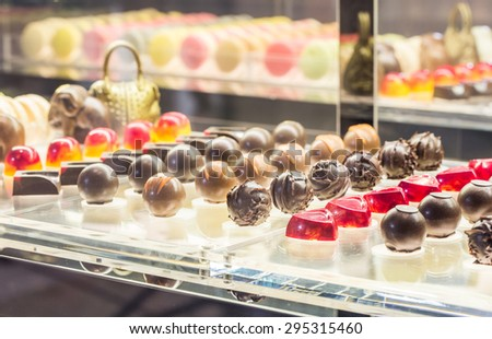 chocolate ball assortment of delicious decorative round chocolates - stock photo