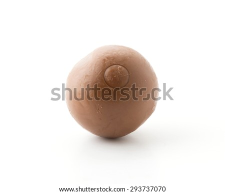 chocolate ball on white background