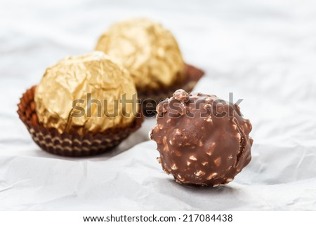 Chocolate balls are praline or may be snack when afternoon - stock photo
