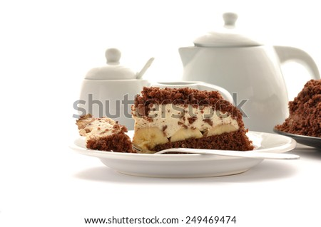 Chocolate banana cake isolated on white background - stock photo
