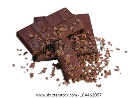 Chocolate bar and chocolate chips on a white background